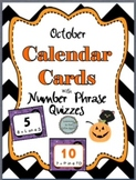 October Calendar Cards with Math and Holiday Equivalent Quizzes