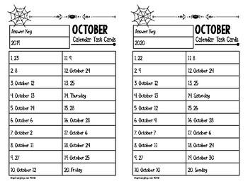 October Calendar Center Task Cards
