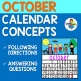 October Calendar Concepts: Following Directions & Answering Wh-Questions