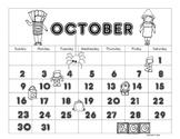 October Calendar Editable Printable