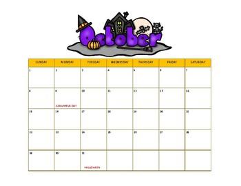October Calendar Freebie
