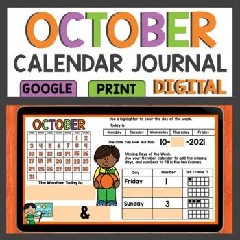 Calendar Activities for October Math Meeting