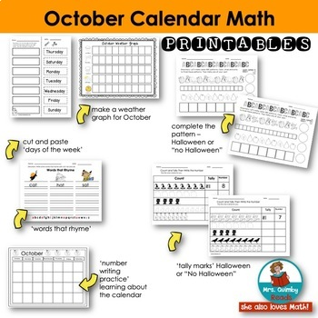 Calendar Number Cards for October | Daily Calendar Math and Literacy