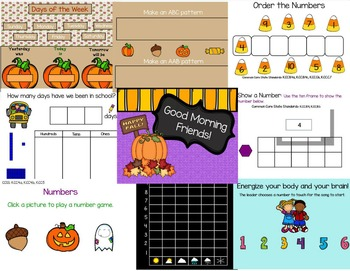 October Calendar Math SmartBoard