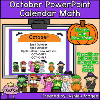 October Calendar Math - in PowerPoint - use with or withou