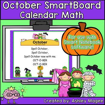 October Calendar Math/Morning Meeting for SMARTBoard