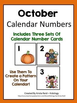 October Calendar Number Cards