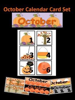 October Calendar Number Set