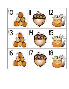 October Calendar Numbers