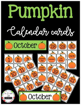 October Calendar Numbers (Pumpkin Fall Theme)