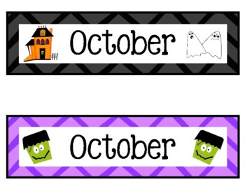 October Calendar Numbers (7 sets)