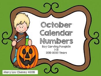 October Calendar Numbers Boy Carving Pumpkin