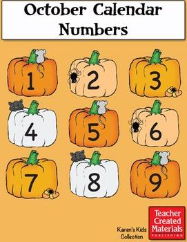 October Calendar Numbers by Karen's Kids (Digital Download)
