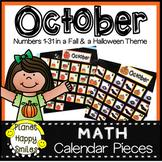 October Calendar Numbers or Math Station Number Cards