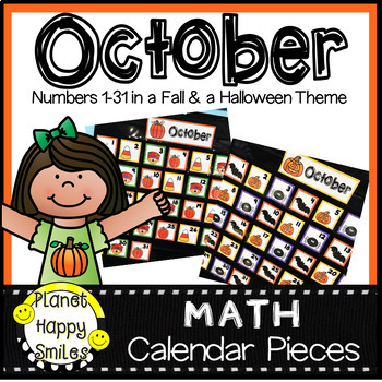 October Calendar Numbers or Math Station Number Cards