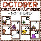 October Calendar Numbers for Pocket Chart Cards