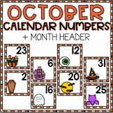 October Calendar Numbers for Pocket Chart Cards