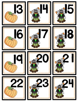 October Calendar Numbers with Patterns