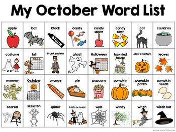 October Calendar Pieces & Word Wall-- Halloween, Fall, Pumpkins
