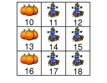 October Calendar Pieces in a-b-b pattern