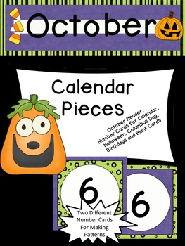 October Calendar Pieces to Use with Your Classroom Calendar