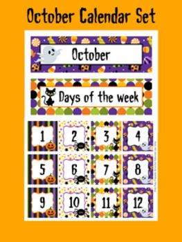 October Calendar Set - Numbers - Days of the Week