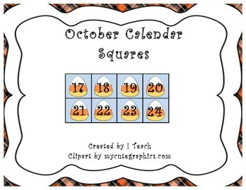 October Calendar Squares