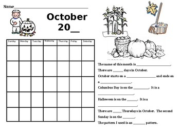 October Calendar Worksheet