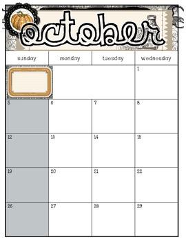 October Calendar and Blog Planner