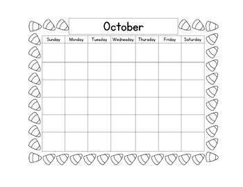 October Calendar and Daily Review/Homework
