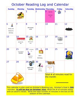 October Calendar and Reading Log
