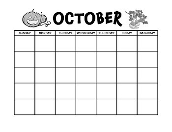 October Calendar and Themed Writing Pages - FREE