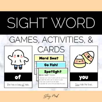 October Candy Corn Kindergarten Sight Word Cards