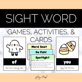 October Candy Corn Kindergarten Sight Word Cards
