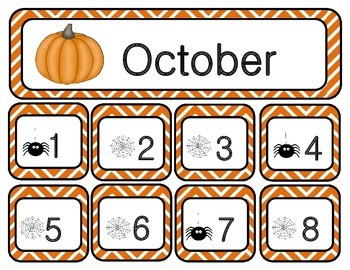 October Chevron Calendar Set