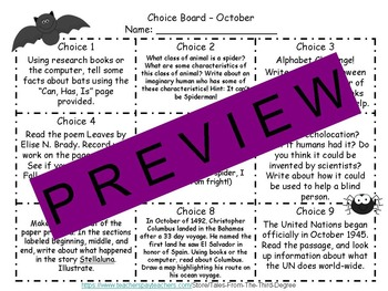 October Reading and Writing Response Choice Board