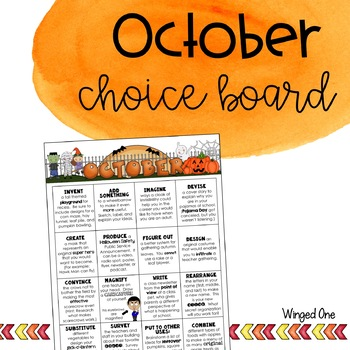 October Early Finishers: Choice Board {Intermediate}