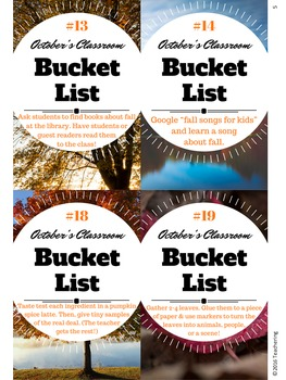 October Classroom Bucket List