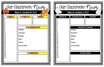 Editable Weekly Newsletters: FALL & OCTOBER