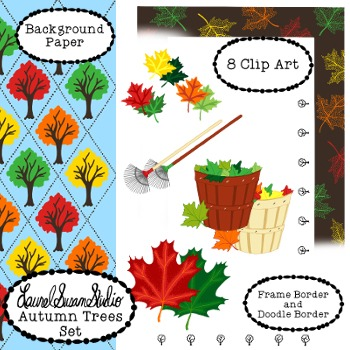 Autumn Trees Clip Art Maple Leaves Tree Fall Rake Commercial Personal