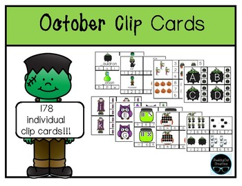 Clothespin- October Clip Cards- Math & Literacy
