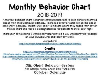 October Clip Chart Behavior Calendar