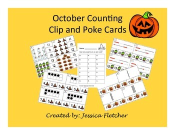 October Clip and Poke Math Center Cards 0-20