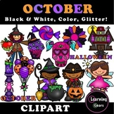 October Clipart - Black & White, Color, Glitter!