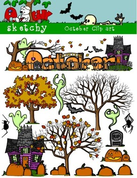 October Clipart / Graphics and Monthly Header 300dpi Color, Gray scale, BW