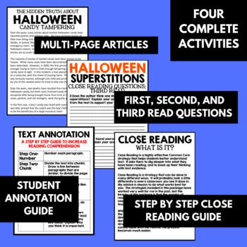 Close Reading: October - No Prep Resources, Halloween Articles, and Activities