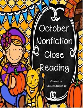 October Close Reading Freebie