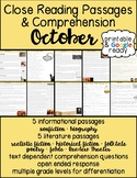 October Close Reading Passages & Comprehension Questions