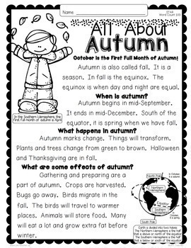 October Close Reading Passages w/ Common Core Aligned Text Dependent Questions