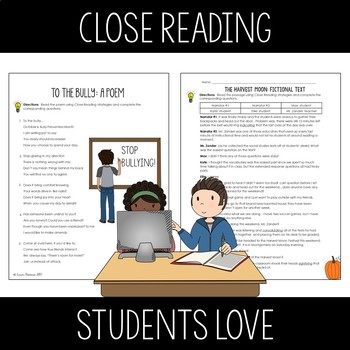 October Close Reads for Google Slides Digital and Printable